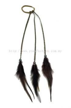 Feather Braid Hair Tie Dark Brown