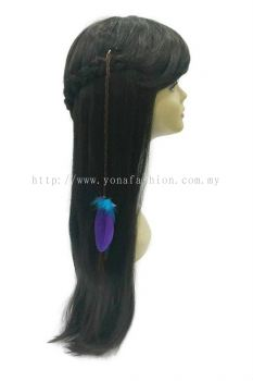 Colourful Feather Braid Brown Hair with Clip (Purple Blue)