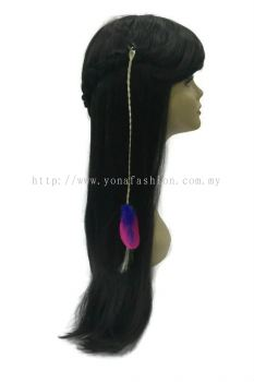 Colourful Feather Braid White Hair Clip (Pink Blue)