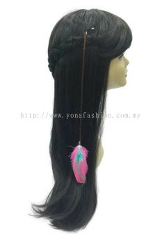 Colourful Feather Braid Brown Hair Clip (Pink Turqouise)