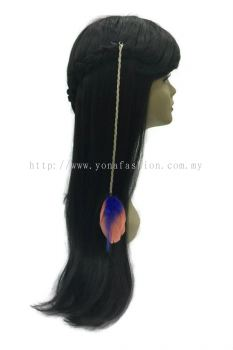 Colourful Feather Braid White Hair with Clip (Blue Peach)
