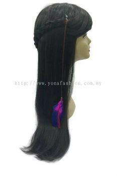 Colourful Feather Braid Hair Brown with Clip (Purple Blue)