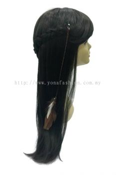 Colourful Feather Braid Hair Brown with Clip (Brown White)