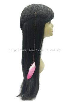 Colourful Feather Braid Brown Hair Clip (Pink White)