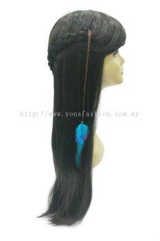 Colourful Feather Braid Brown Hair Clip (Blue)