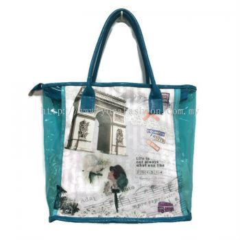 Printed Transparent Shoulder Bag (Blue)