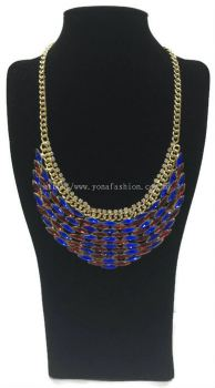 Gold Grand Crystal Stone Necklace (Blue Red)