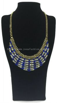 Gold Grand Crystal Stone Necklace (Blue White)