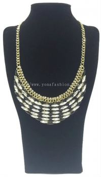 Gold Grand Crystal Stone Necklace (Black White)