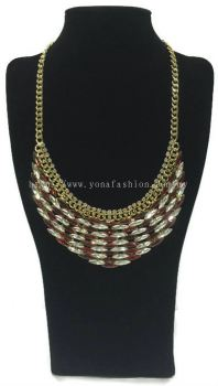 Gold Grand Crystal Stone Necklace (Red White)