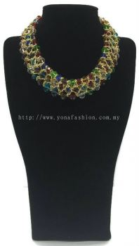 Grand Triple Lid Small Beads Necklace (Colourful)