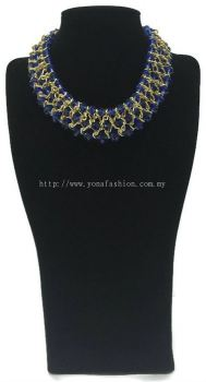 Grand Triple Lid Small Beads Necklace (Blue)