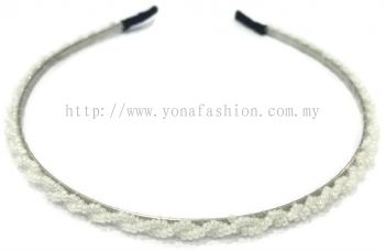 Small Beads Hair Band (White)