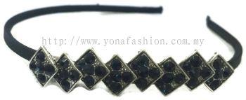 Square Shape Black Stone Hair Band