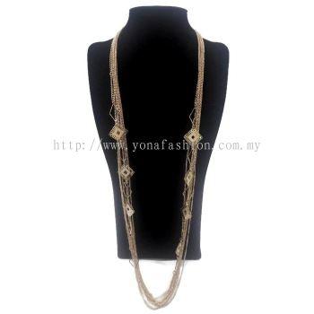 Designer Square Shape Long Chain (Gold)