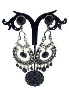 Vintage Bohemian Style Coin Earring With Stone (Black)