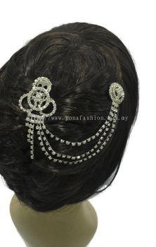 Designer Stone Hair Bun Clip (Silver) (ST00588)
