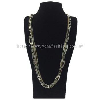 Fancy Oval Long Chain (Silver) (ST00268)