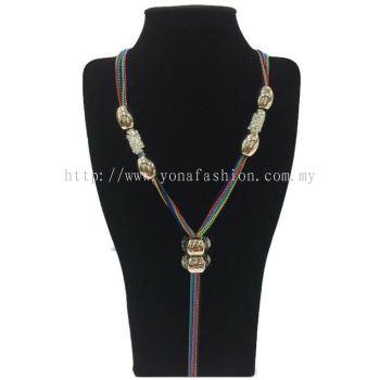 Yona Fashion Designer Long Chain Stone (Colourful)