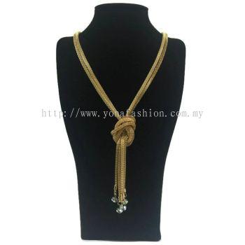 Yona Fashion Designer Long Chain Crystal (Gold)