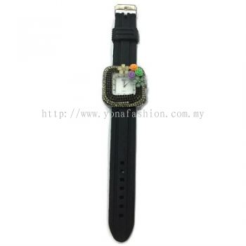 Flower Stone Silicone Square Watch (Black)