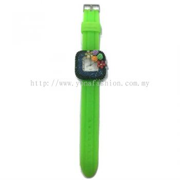 Flower Stone Silicone Square Watch (Neon Green)