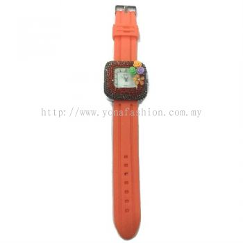 Flower Stone Silicone Square Watch (Orange)