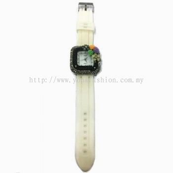 Flower Stone Silicone Square Watch (Off White)
