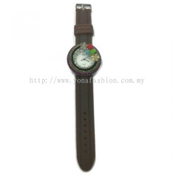 Flower Stone Silicone Circle Watch (Brown)
