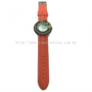 Flower Stone Silicone Circle Watch (Orange)