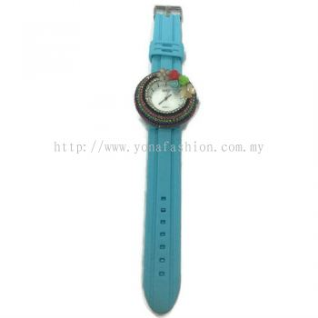 Flower Stone Silicone Circle Watch (Sky Blue)