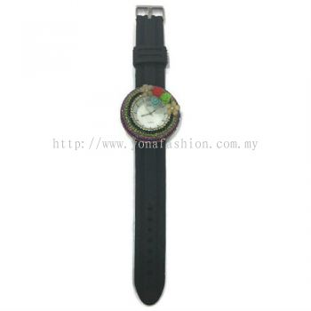 Flower Stone Silicone Circle Watch (Black)