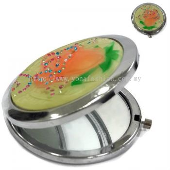 Silver Plated Ladies Make Up Compact Mirror