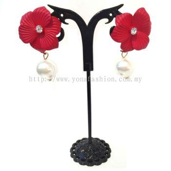 Yona Fashion Designer Flower Pearl Earring (Red)