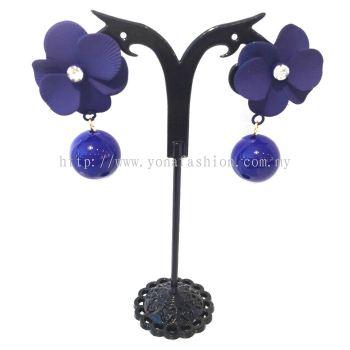Yona Fashion Designer Flower Pearl Earring (Blue)