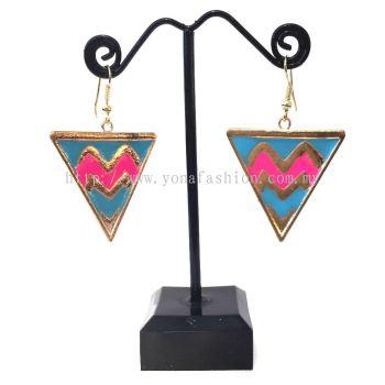 Yona Fashion Designer Triangle Shape Earring (Blue Pink)