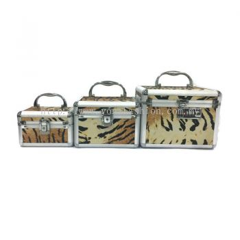 Professional 3 in 1 Makeup Organizer/Box (With Mirror)(Tiger Printed)