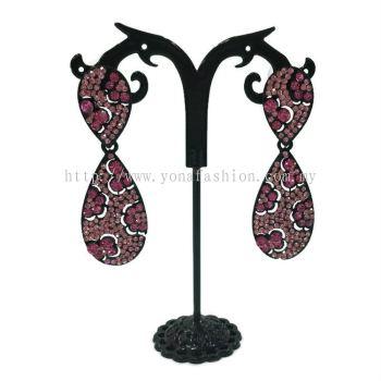 Grand Stone Oval Shape Earring(Pink&Black)