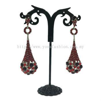 Oval Drop Stone Earring (Red)