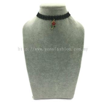 Yona Fashion Fancy Choker With Pendant(Rose)
