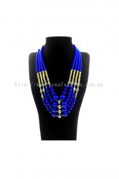 Yona Fashion Big Beads Necklace Earring Set(Blue)