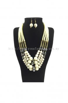 Yona Fashion Big Beads Necklace Earring Set(White)