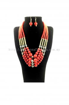 Yona Fashion Big Beads Necklace Earring Set(Red)