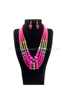Yona Fashion Big Beads Necklace Earring Set(Purple)
