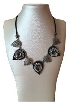 Grey Stone Leaf Necklace