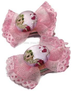 Yona Fashion 2 in 1 Kids Hair Clip (Frozen Theme)Soft Pink