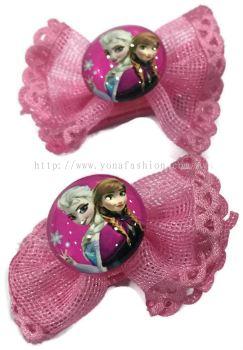 Yona Fashion 2 in 1 Kids Hair Clip (Frozen Theme)Drk Pink