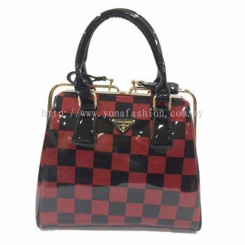 Yona Fashion Glossy Hard Handbag (Red Black)