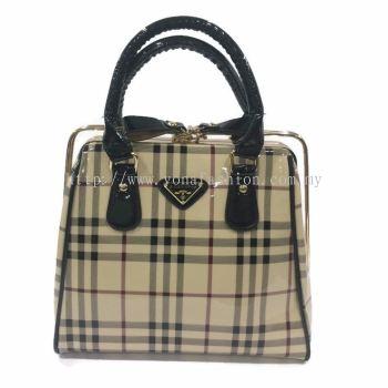 Yona Fashion Glossy Hard Handbag (Beige)