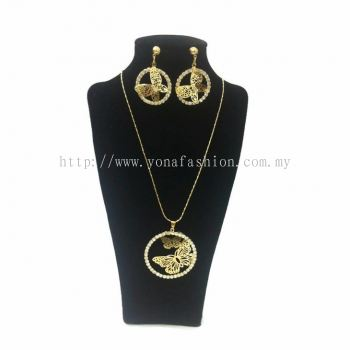 Yona Fashion 2 in 1 Necklace Earring Set (Butterfly)